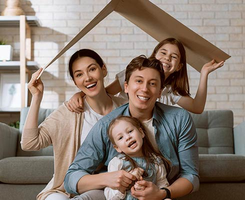 family in a home